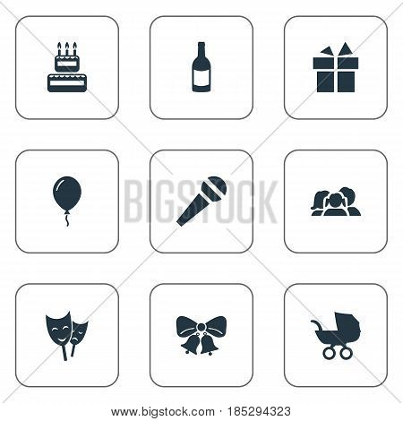 Vector Illustration Set Of Simple Holiday Icons. Elements Mask, Domestic, Ribbon And Other Synonyms Family, Jingle And Aerostat.