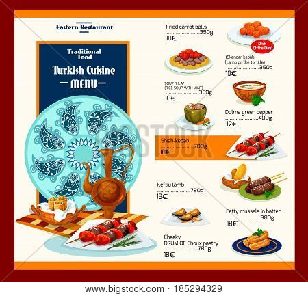 Turkish cuisine menu for restaurant. Vector ornament cover design of Turkey traditional Mediterranean meals of meat dishes, vegetable salads and soups or authentic appetizer snacks and desserts