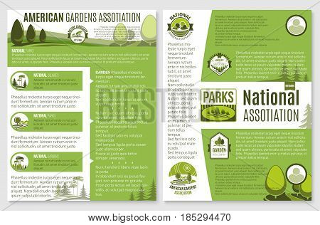 Landscape and gardening company or organization brochure vector template for green ecology national association. Nature and woodlands landscape of village or urban city park trees and gardens