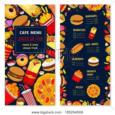 Fast food restaurant menu with prices. Vector design of hamburgers, sandwiches, drinks and desserts for cover template. Fastfood pizza, ice cream and donut, chicken nuggets and cheeseburger burger