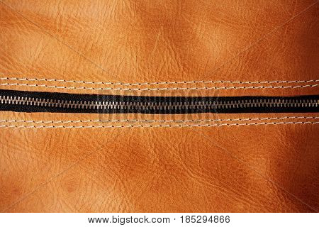zipper and surface details of the leather bag.