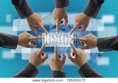 A diverse business teamwork do World Marketing technology