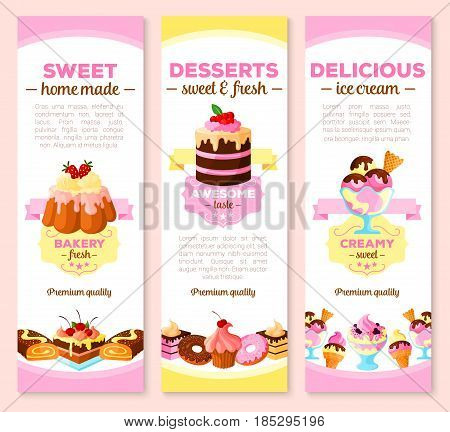 Desserts and pastry cakes banners for homemade patisserie tortes and sweets. Vector bakery cupcakes, charlotte pudding, tiramisu biscuit and cheesecake pie, chocolate donut, brownie tart and ice cream