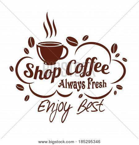Coffee cup vector icon design with coffee beans for coffeeshop, cafeteria or cafe. Template for premium product of hot coffee mug or steamy espresso and americano for coffeehouse drinks menu