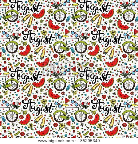 August. Summer print. Seamless vector pattern (background).