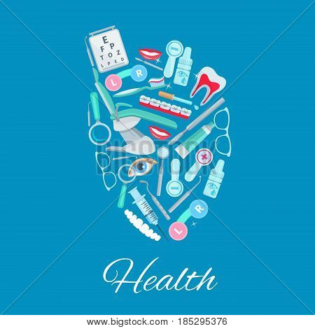 Health vector poster of heart with healthcare medicines and medical items. Surgical dentistry scalpel, ophthalmology vision glasses and eye lenses or drops, dentist chair and dental tooth braces