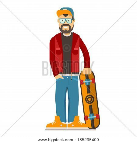 Happy bearded skateboarder man standing with skate desk in sunglasses. Skate board hipster guy with casual style clothes, cap and beard. Vector illustration in flat design.