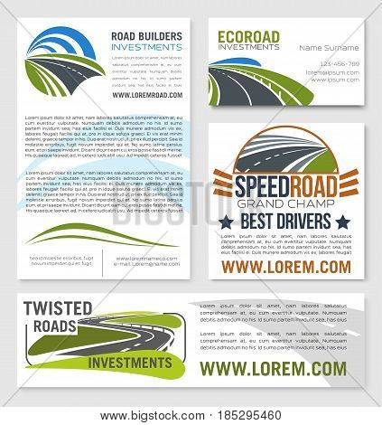 Road banners and posters for construction or investment company or motor races championship. Vector design of motorways path and curved lanes for eco road building corporation