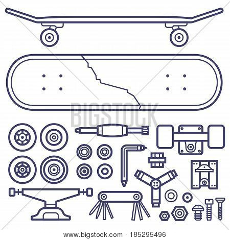 Skateboard repair icon set. Skating and skateboarding tools for repairing service. Skate board repairs equipment. Multi tool, screw-bolt, truck, wheels, screwdriver items pack and cracked skate deck.