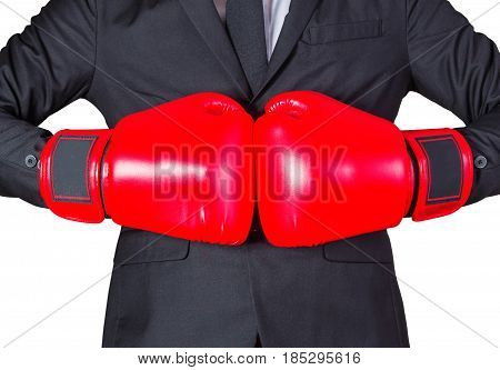 Businessman with boxing gloves on white background.