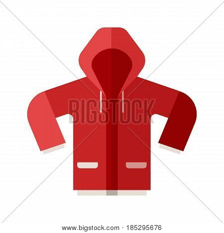 Red casual anorak icon. Sport jacket vector illustration in flat design. Active lifestyle outerwear.