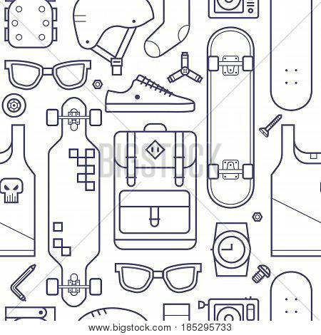 Skateboard pattern with equipment and accessories in thin line style. Urban lifestyle and skateboarding seamless background with skate board gear and riding clothes in outline design.