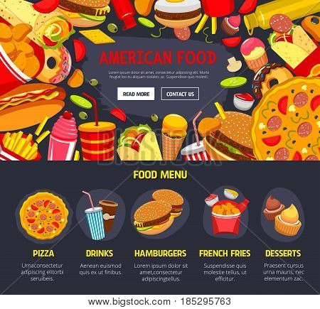 Fast food restaurant web site or landing page vector design. Fastfood menu of burgers and hot dogs, pizza and cheeseburger sandwich or soda drinks, french fries or chicken snacks and ice cream dessert
