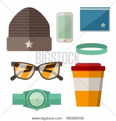 Modern guy accessories set with hat, wallet, smartphone, wristwatch, sunglasses and coffee cup. Urban lifestyle casual icons with everyday elements for hipster, teenager or skateboarder.