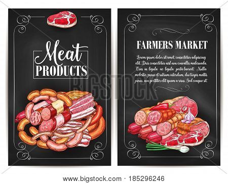 Meat products of farmers market. Butchery shop meat delicatessen of ham or bacon brisket, butcher gourmet gastronomy of frankfurter or saveloy sausages and cervelat, pork lard, salami and steak
