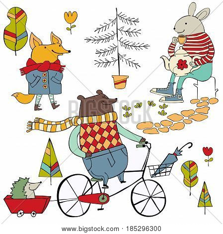 Bear on bicycle. Hedgehog. Fox in raincoat. Bunny with teapot. Forest animals. Trees and flowers. Set. Isolated vector objects on white background.