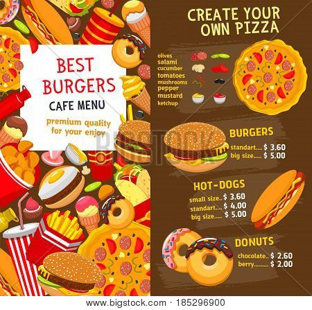 Fast food restaurant burgers and sandwiches menu. Vector price for fastfood menu hamburgers and hot dogs, pizza and cheeseburger or soda drinks, french fries or chicken nuggets and ice cream dessert