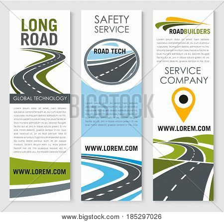 Road safety construction and highways building and investment company vector banners set. Design of bridges and tunnels of motorways for travel or transport navigation development service