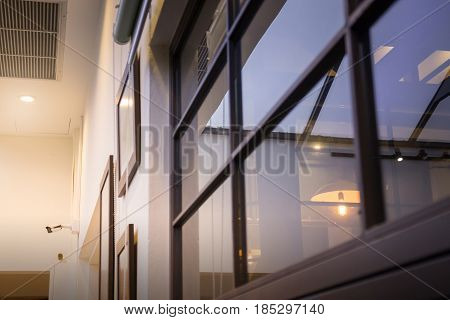 Black Frame Of Modern Window stock photo