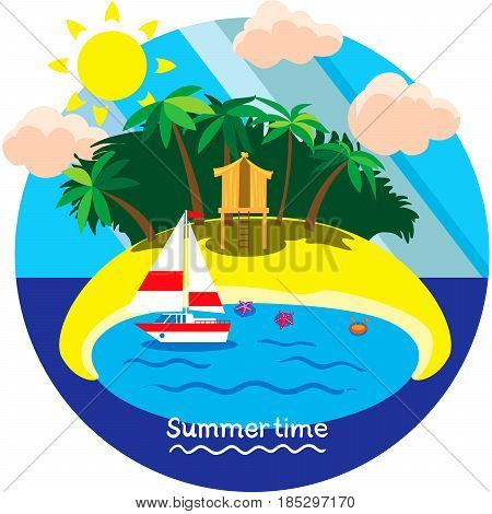 Creative conceptual vector. Summertime vacation. Summertime travel.