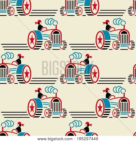 Seamless tractors pattern in constructivism soviet style. Vector vintage 20s geometric ornament.