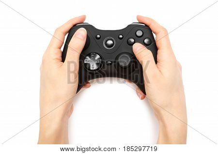 Woman Hand Holding Gamepad.
