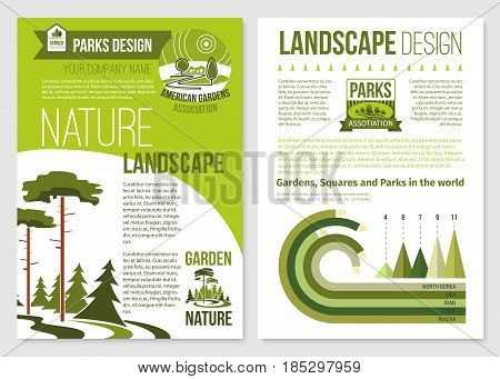Landscape and gardening design vector brochure or poster for landscaping service company. Outdoor urban gardens or nature horticulture, village woodlands or city park trees and greenery planting