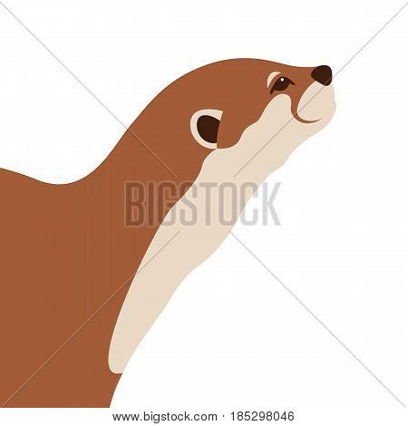 otter vector illustration style Flat side profile