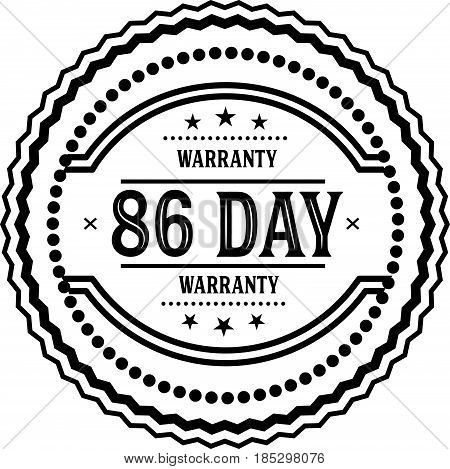 86 days warranty vintage grunge black rubber stamp guarantee background poster
