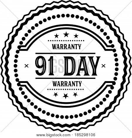 91 days warranty vintage grunge black rubber stamp guarantee background poster