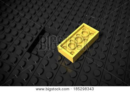 3d illustration: Yellow different toys piece lies separately on a black background is not inserted in the groove. Business concept: unique, not like everyone else.