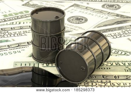 3d illustration: Black barrels of oil lie on the background of dollar money. Petroleum business, black gold, gasoline production, puddle. Purchase sale, auction, stock exchange.