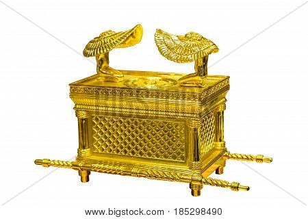 The Ark of the Covenant with figures of cherubim, Jewish religious symbol, isolated on white background