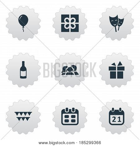 Vector Illustration Set Of Simple Celebration Icons. Elements Box, Ribbon, Beverage And Other Synonyms Beverage, Family And Prize.