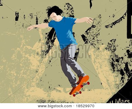 Young skateboarder jumping. Vector illustration with grunge background.