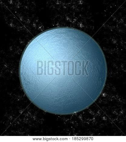 Blue astronomical body in the universe (3D illustration)