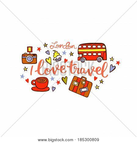 i love to travel london isolated vector objects on white background