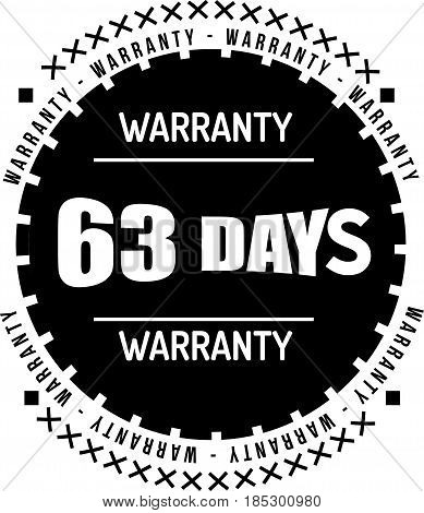 63 days warranty vintage grunge black rubber stamp guarantee background poster