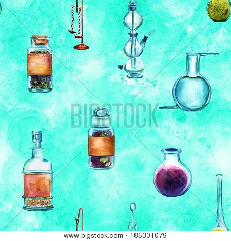 Vintage Science seamless background pattern with chemistry objects. Jars, bottles, containers, apparatuses, hand painted in watercolours on a teal background, forming a repeat print