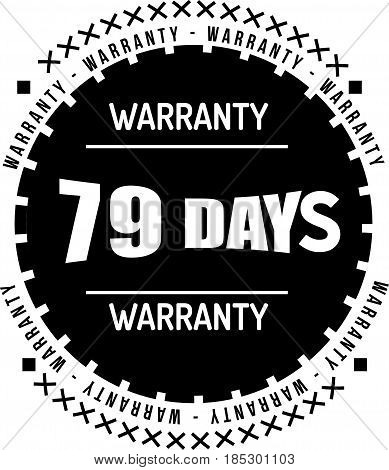 79 days black warranty icon vintage rubber stamp guarantee