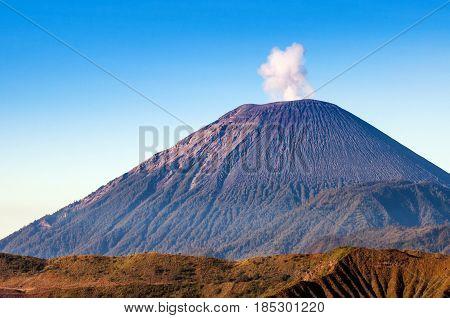 Mount Semeru Volcanoes In Bromo Tengger Semeru National Park, East Java, Indonesia.
