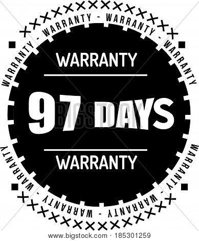 97 days black warranty icon vintage rubber stamp guarantee
