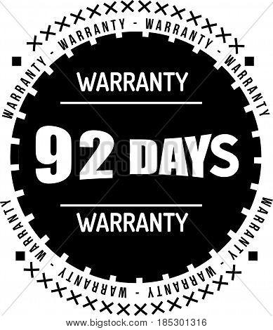 92 days black warranty icon vintage rubber stamp guarantee