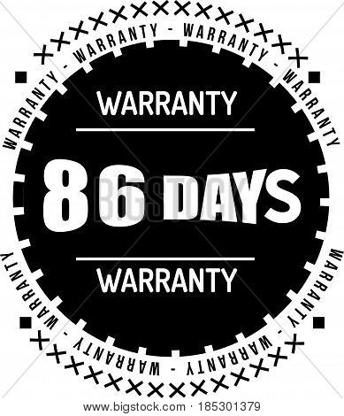 86 days black warranty icon vintage rubber stamp guarantee poster