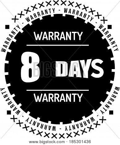 8 days black warranty icon vintage rubber stamp guarantee
