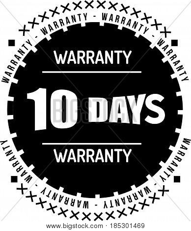 10 days black warranty icon vintage rubber stamp guarantee