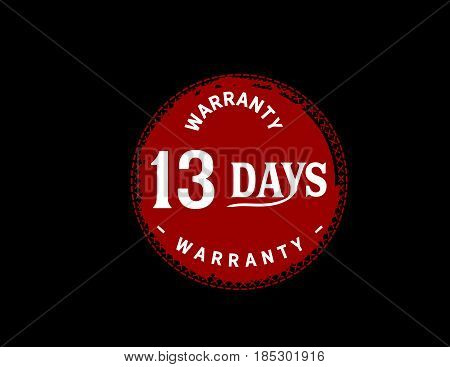 13 days red warranty icon vintage rubber stamp guarantee