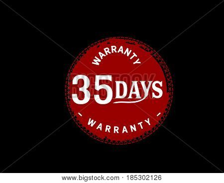 35 days red warranty icon vintage rubber stamp guarantee