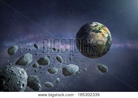 Cosmic scene with asteroid path near the planet Earth. Elements of this image furnished by NASA.