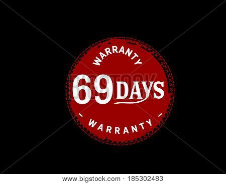69 days warranty icon vintage rubber stamp guarantee bakcground
